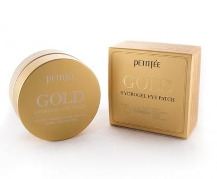 Патчи гидрогелевые для глаз с 24-каратным коллоидным золотом PETITFEE Gold hydrogel eye patch 60шт: фото