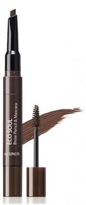 Тушь-карандаш для бровей THE SAEM Eco Soul Brow Pencil & Mascara 03 Dark Brown 0,2г/2,5мл: фото