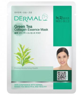 Тканевая маска зеленый чай и коллаген Dermal Green Tea Collagen Essence Mask 23 мл: фото