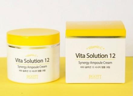 Крем ампульный тонизирующий JIGOTT Vita Solution 12 Synergy Ampoule Cream 100 мл: фото
