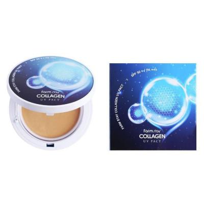 Пудра компактная с коллагеном FARMSTAY Collagen UV pact SPF 50/PA+++ №23 Натуральный Беж, со сменным блоком 12г*2: фото
