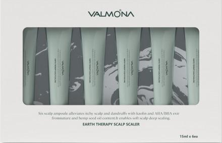 Набор Сыворотка для кожи головы ОЧИЩАЮЩАЯ EVAS VALMONA Earth Therapy Scalp Scaler 15мл*6шт: фото