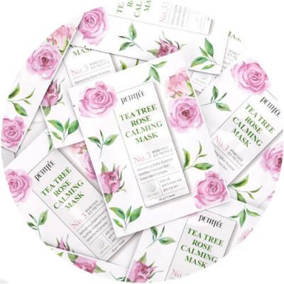 НАБОР Масок тканевых с экстрактом чайного дерева и розы Petitfee Tea Tree Rose Calming Mask 25г*10: фото